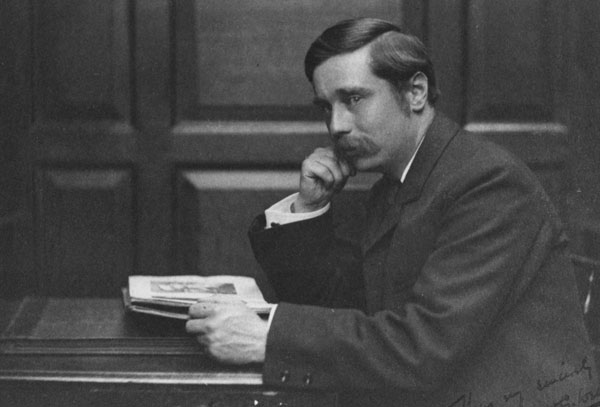 H.G. Wells looking glum (c.1890)